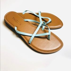 Talbots Light Blue Faux Leather Flip Flops 8 NWOT